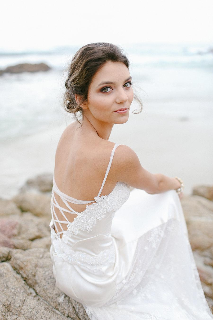 Beach Wedding, Lace Silk Bridal Corset Gown, Bustier, Bridal Gown ...