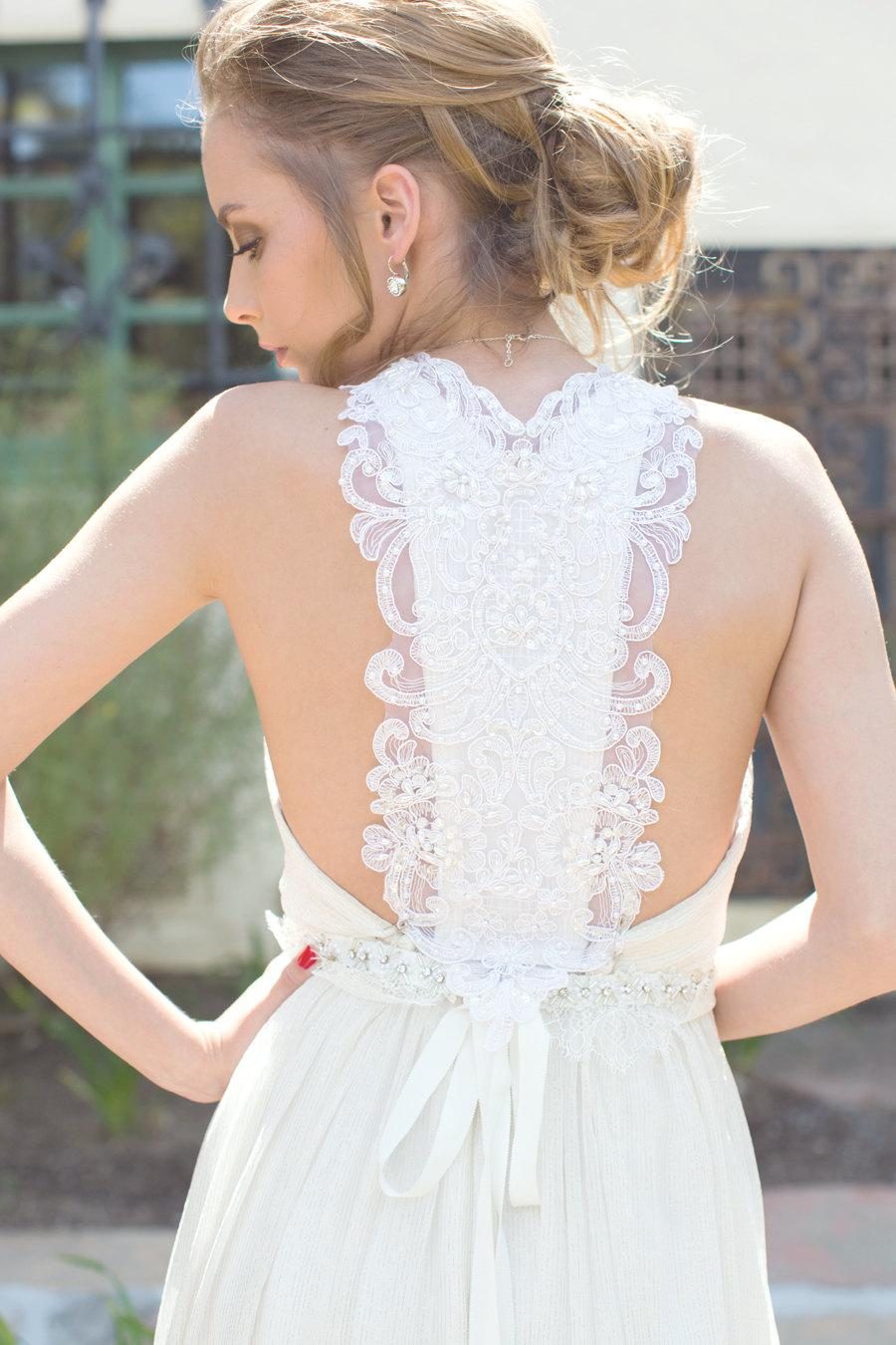 White bridal dress beach wedding dress bridal gown silk chiffon white bridal dress beach wedding dress bridal gown silk chiffon lace sexy back low back for destination beach weddings off white ombrellifo Image collections