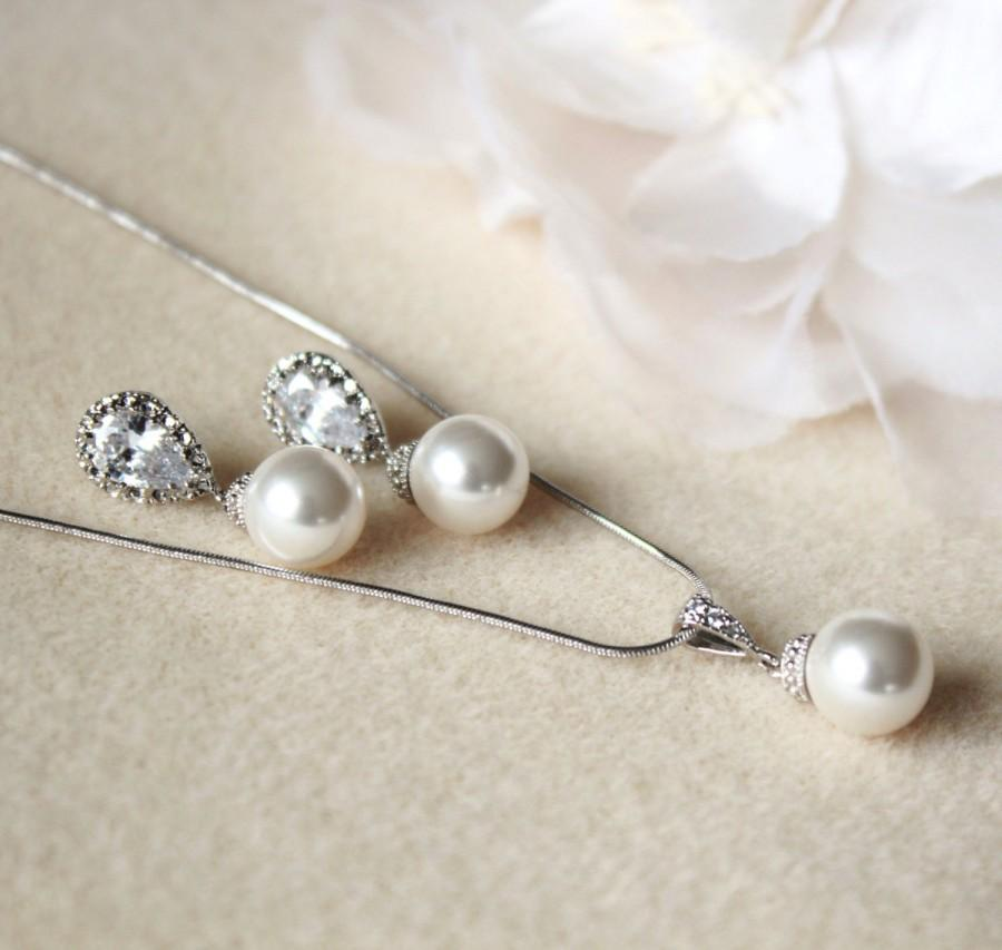 Crystal Pearl Bridal Jewelry Set White Ivory Cream Swarovski Pearl