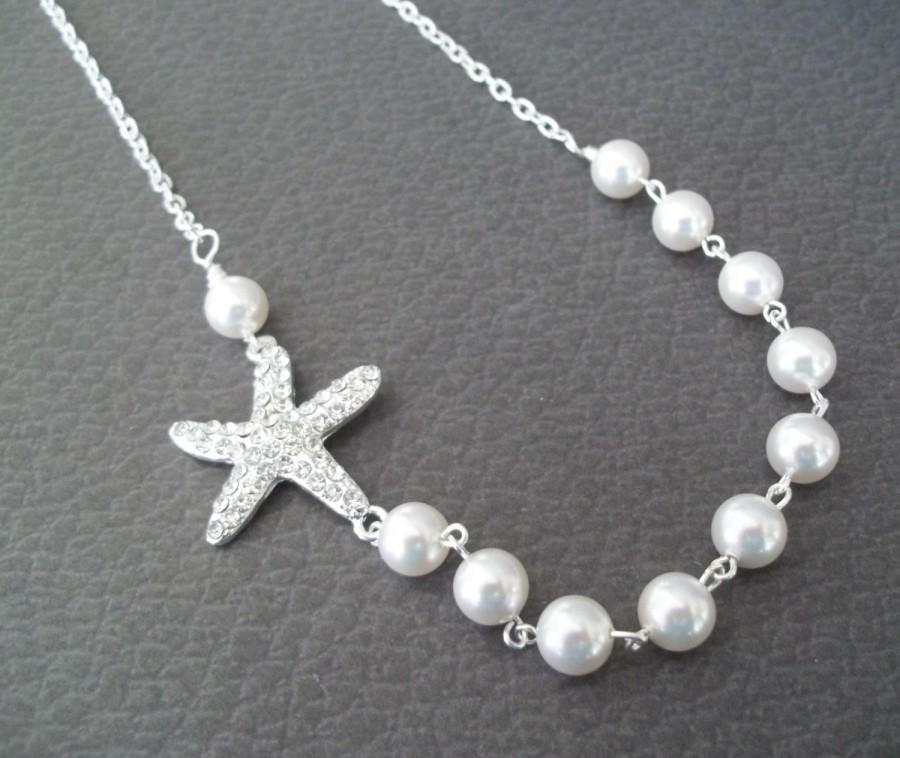 Starfish bridal necklacerhinestone starfish necklaceswarovski starfish bridal necklacerhinestone starfish necklaceswarovski pearlspearl necklacebeach nautical weddingstarfish pearl necklace aloadofball Gallery