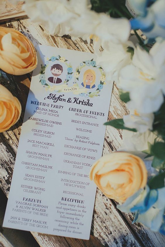 زفاف - Stylish Wedding Programs For Your Retro Ceremony