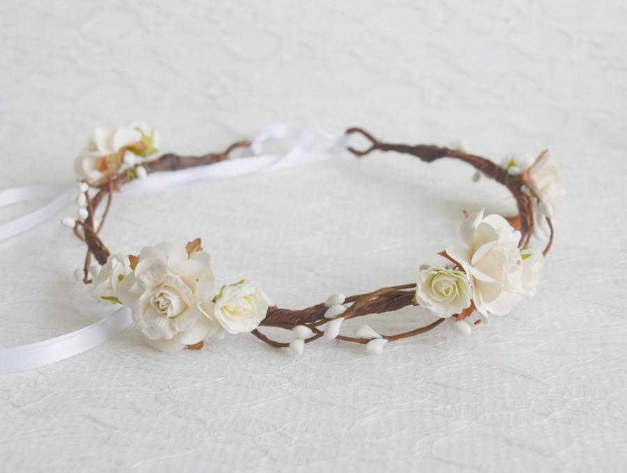 Свадьба - Ivory Rose Flower Crown, woodland floral crown, bridal headpiece, bridal hair accessories, wedding hair accessories, bridal crown - AURORA