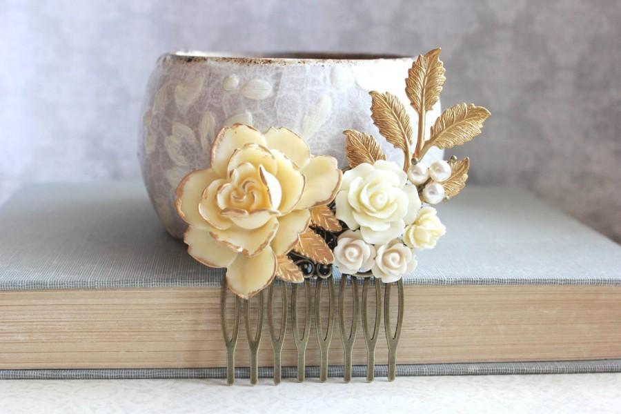 Hochzeit - Bridal Hair Comb Ivory Cream Rose Comb Vintage Style Country Chic Bridesmaid Gift Gold and Cream Floral Collage Gold Branch Pearl Comb