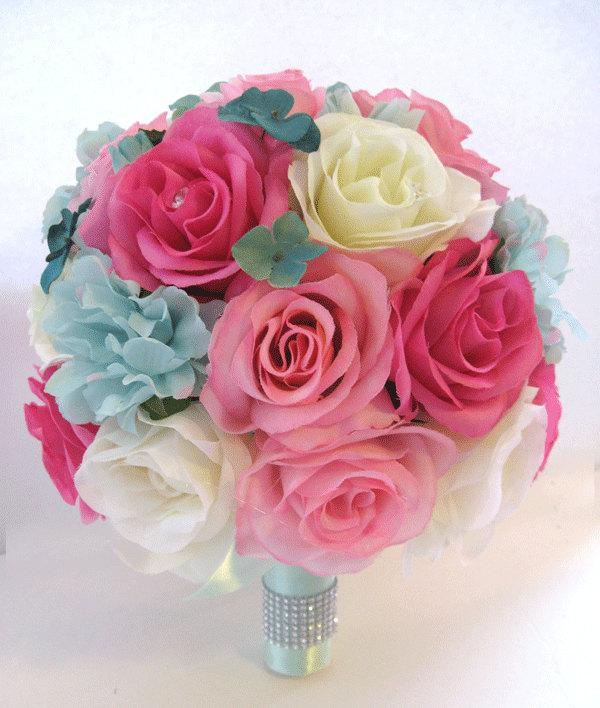 17 piece wedding bouquet flowers bridal silk package hot pink teal 17 piece wedding bouquet flowers bridal silk package hot pink teal mint green cream bridesmaid maid of honor centerpieces rosesanddreams mightylinksfo