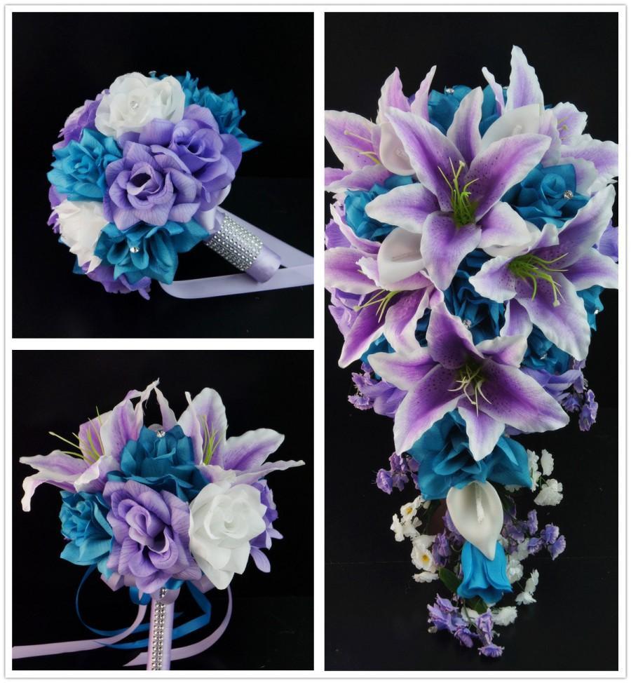Mariage - 13pc wedding bridal party flower-Turquoise Malibu Lavender(bouquet,boutonniere,corsage)
