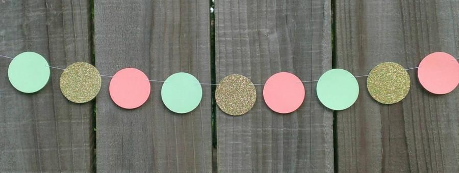 Свадьба - Peach, Mint Green and Gold Paper Circle Garland, Coral, Dot Garland, Wedding Decoration