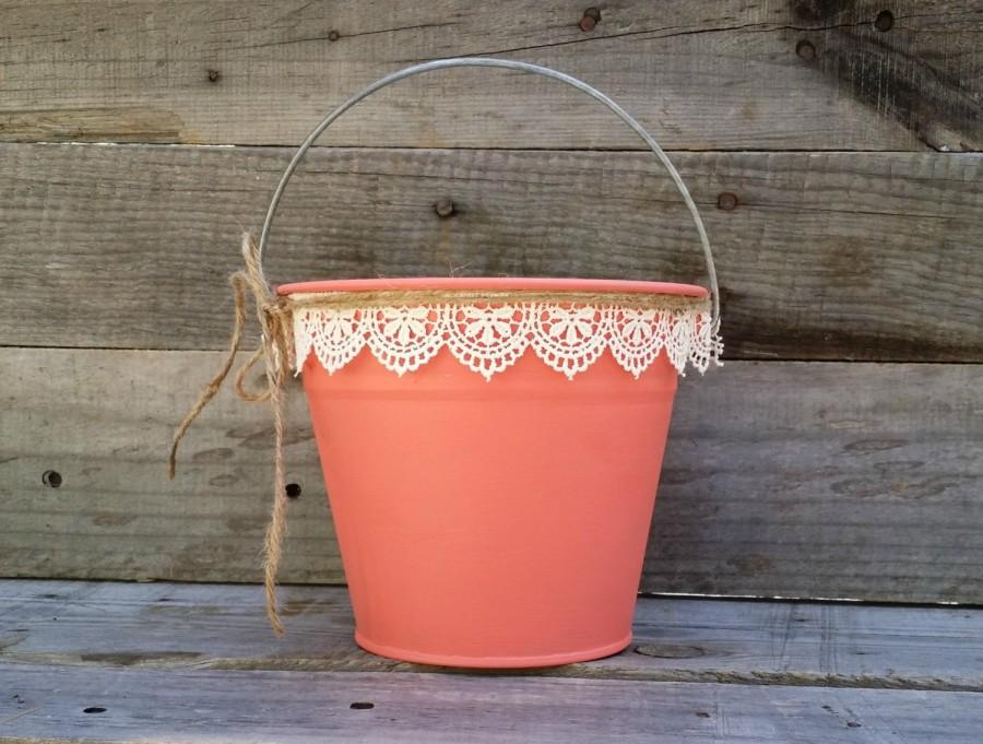 Hochzeit - Rustic Flower Girl Basket, Coral Pail with Cream Lace, Rustic Wedding Decor, Flower Girl Bucket, Shabby Chic Wedding Decor