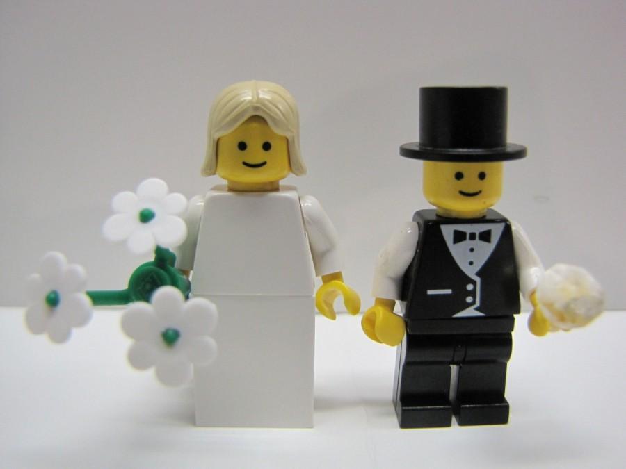 Wedding - Lego BRIDE & GROOM Wedding Minifig Pair Blonde Hair