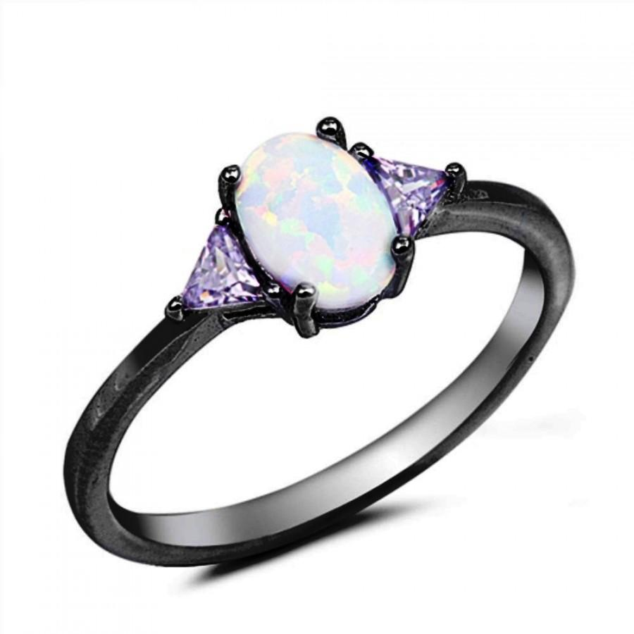 oval cut white opal black gold ring 925 sterling silver