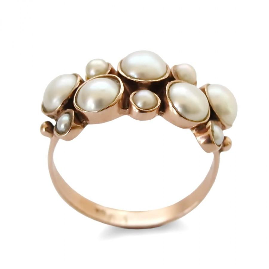 14k Rose Gold With Freshwater Pearls Engagement Pearls Gold Ring, Wedding  Ring Vintage Statement Ring, Multistone Handmade Classic Jewelry