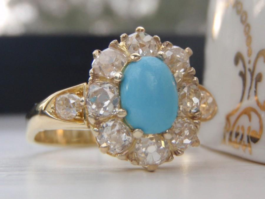 Свадьба - A Stunning Halo of 1.15 Carats of Plump Old European Diamonds Surrounds A Pretty Cabochon Turquoise. Statement Vintage Engagement Ring.
