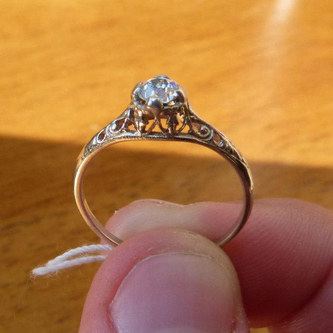 Affordable Classic Diamond Engagement Ring Art Deco Filigree