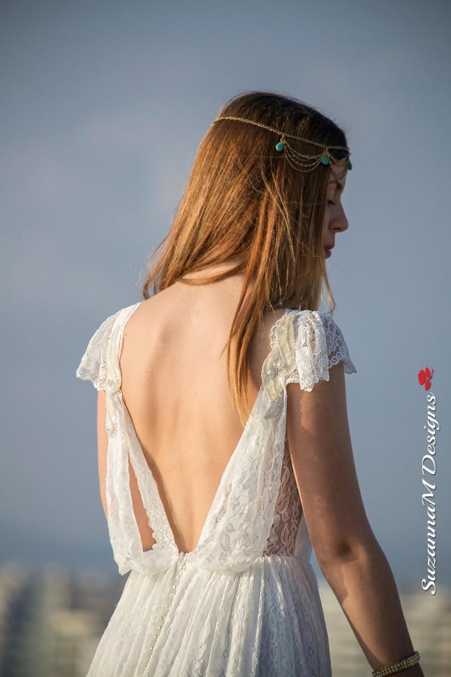 Wedding - Wedding Dress, Bohemian Wedding Gown, Boho Bridal Dress, Long Wedding Dress, Ivory Lace Dress, Lace Wedding Dress Handmade bySuzannaMDesigns