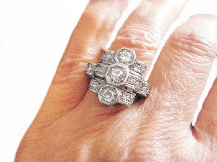 Mariage - Antique Art Deco Engagement Ring, 1920s Diamond Platinum Ring, Diamond Cocktail Ring, Ladies Anniversary Euro Diamonds