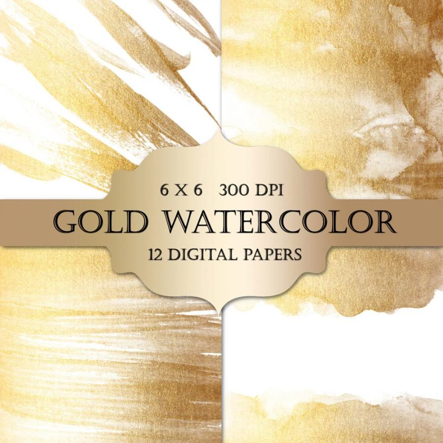Gold Watercolor Digital Papers - Gold Glitter Watercolor Metallic ...