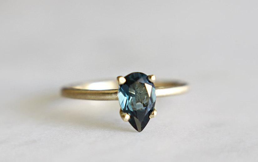 زفاف - 14k gold london blue topaz ring, alternative engagement ring, eco friendly gold,