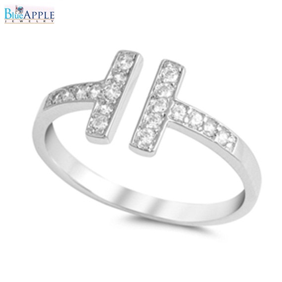 Wedding - Double Sideways T Ring 925 Sterling Silver Russian Diamond Russian Iced Out CZ Ring Band For Ring Fashion Jewelry Gift