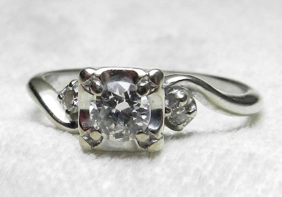 Wedding - Vintage Engagement Ring Art Deco Engagement Ring .60 Ct tdw 18K Ring Old European Cut Diamond Ring Three Stone Ring 1920s Engagement