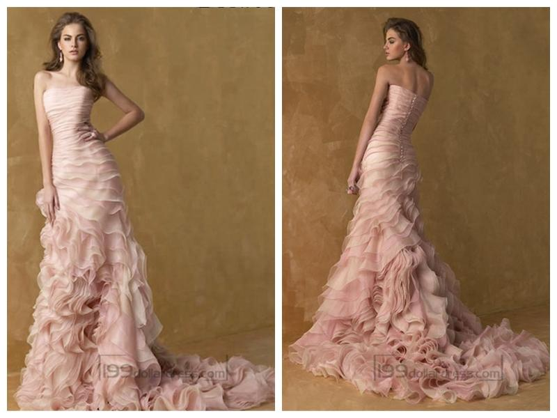 Wedding - Romantic Pink Strapless A-line Ruffles Wedding Dresses