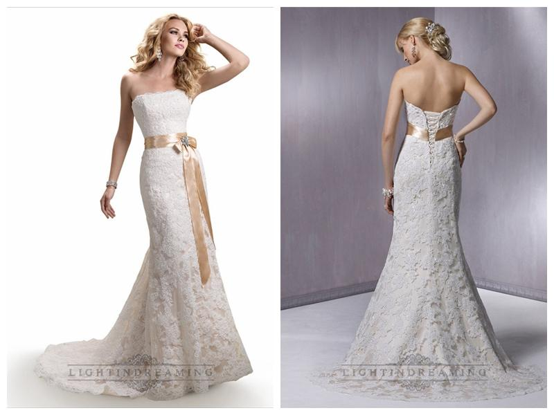 زفاف - Strapless Slim A-line Lace Wedding Dresses with Satin Ribbon Waist