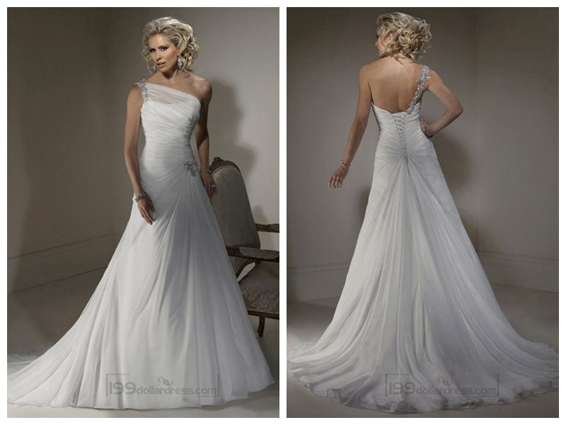 A-line Wedding Dresses With One Shoulder Neckline And Corset Closure ...
