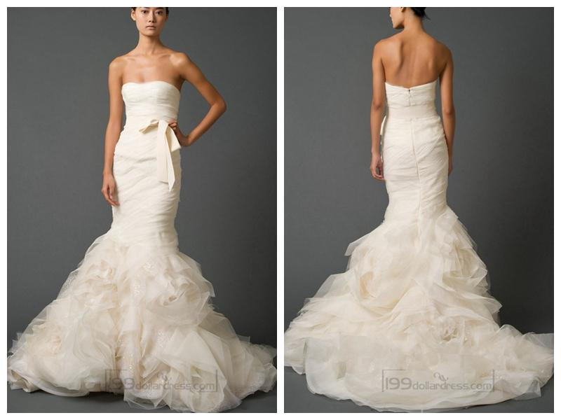 Strapless Sweetheart Trumpet Pleated Wedding Dresses With Low Back ...
