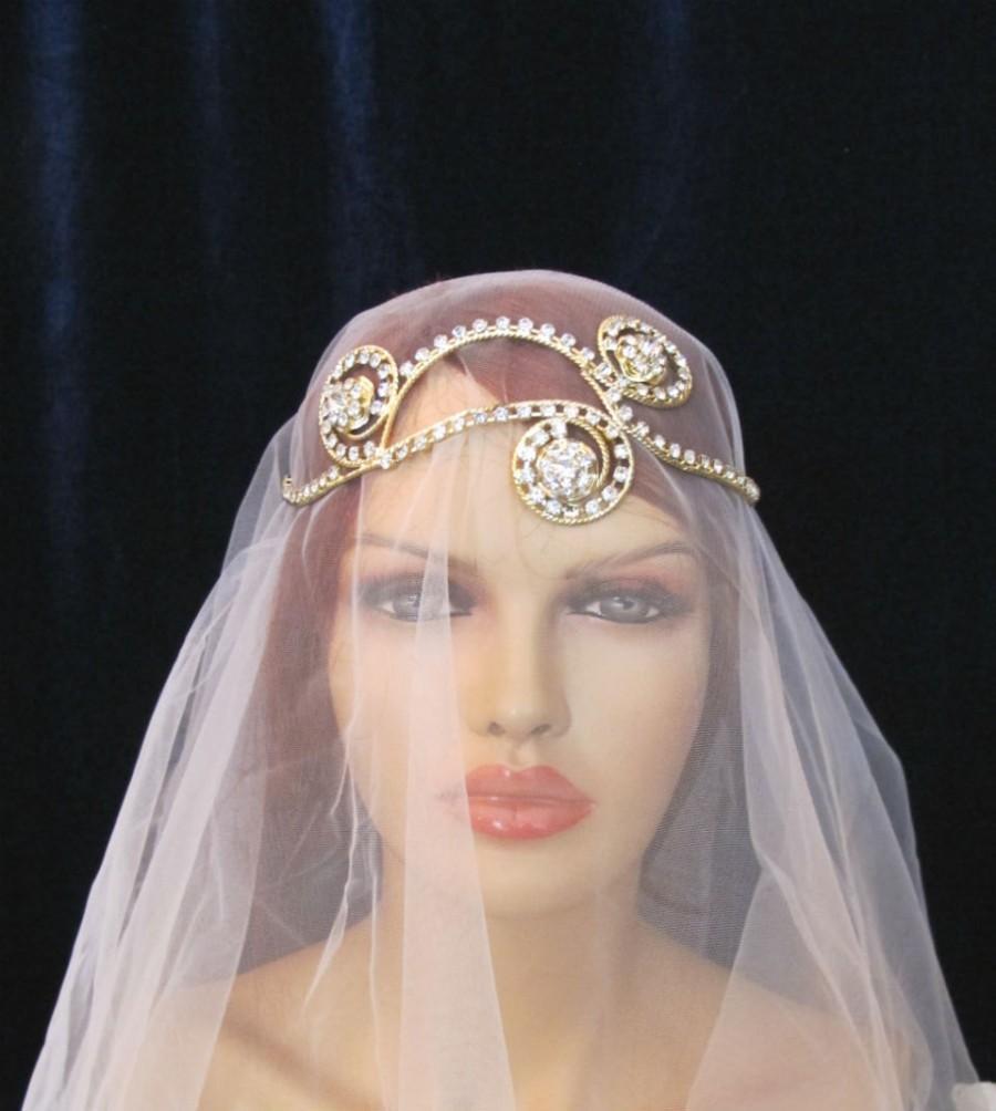 Свадьба - Golden Rhinestone Beaded  Bridal  Head band Greek Inspired Wedding Accessories Headpiece Head Piece