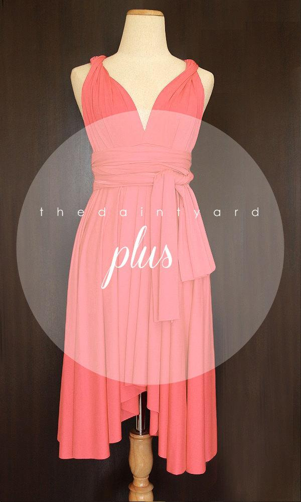 Plus Size Coral Bridesmaid Dress Convertible Dress Infinity Dress ...