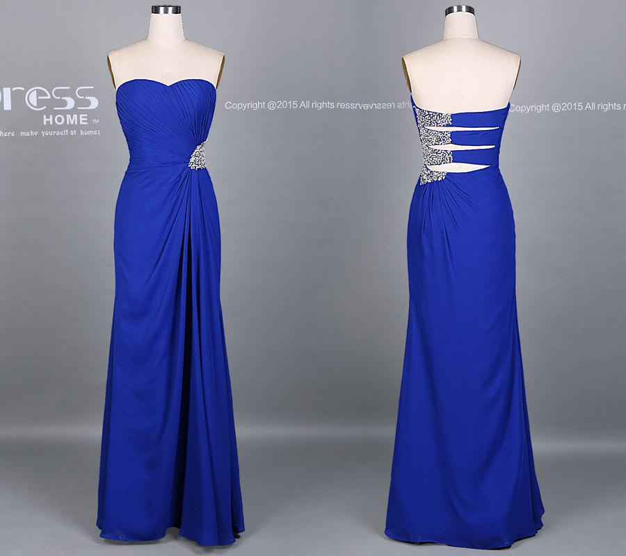 Boda - Royal Blue Sweetheart Beading Chiffon Bridesmaid Dress/Simple Long Prom Dress/Homecoming Dress/Beach Wedding Party Dress DH145