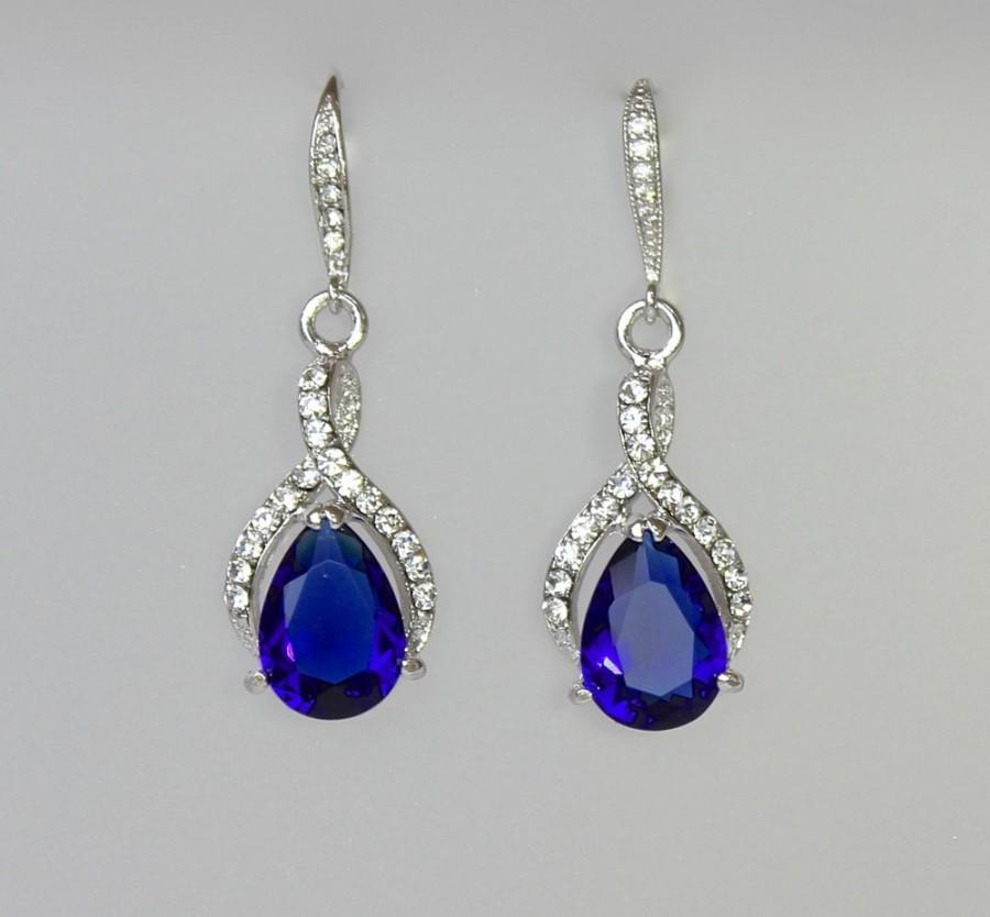 Blue Bridal Earrings Sapphire Crystal Earrings Something Blue