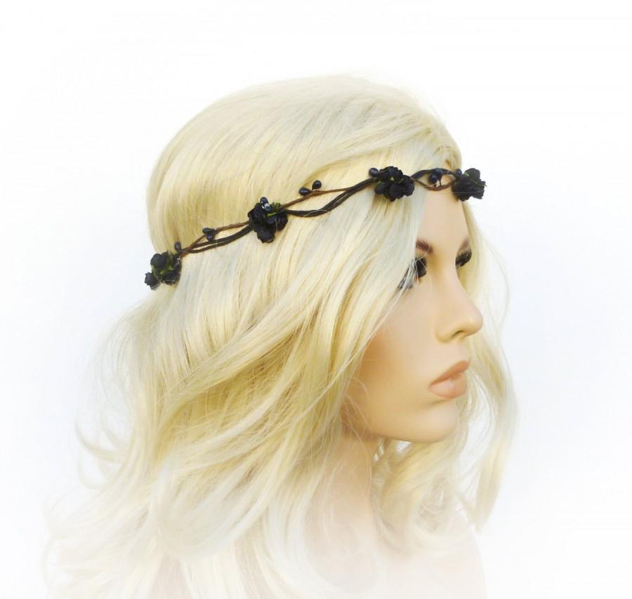 Свадьба - Black flower crown Gothic crown Black rose headband goth wedding black wedding goth bride black hair accessory Halloween costume