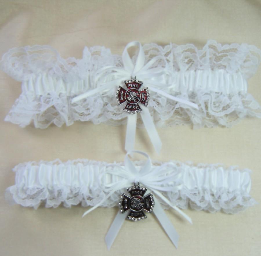 Hochzeit - FIREFIGHTER Fireman Wedding garters white lace Garter set