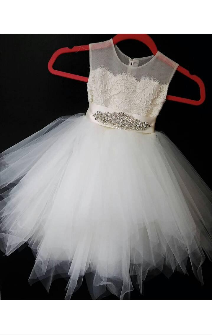 Stunning Hy Rose Belle Flower Dress Ivory Lace Tea Length Pouffy Tulle Skirt An Sheer Netting With Pearl Rhinestone Sash