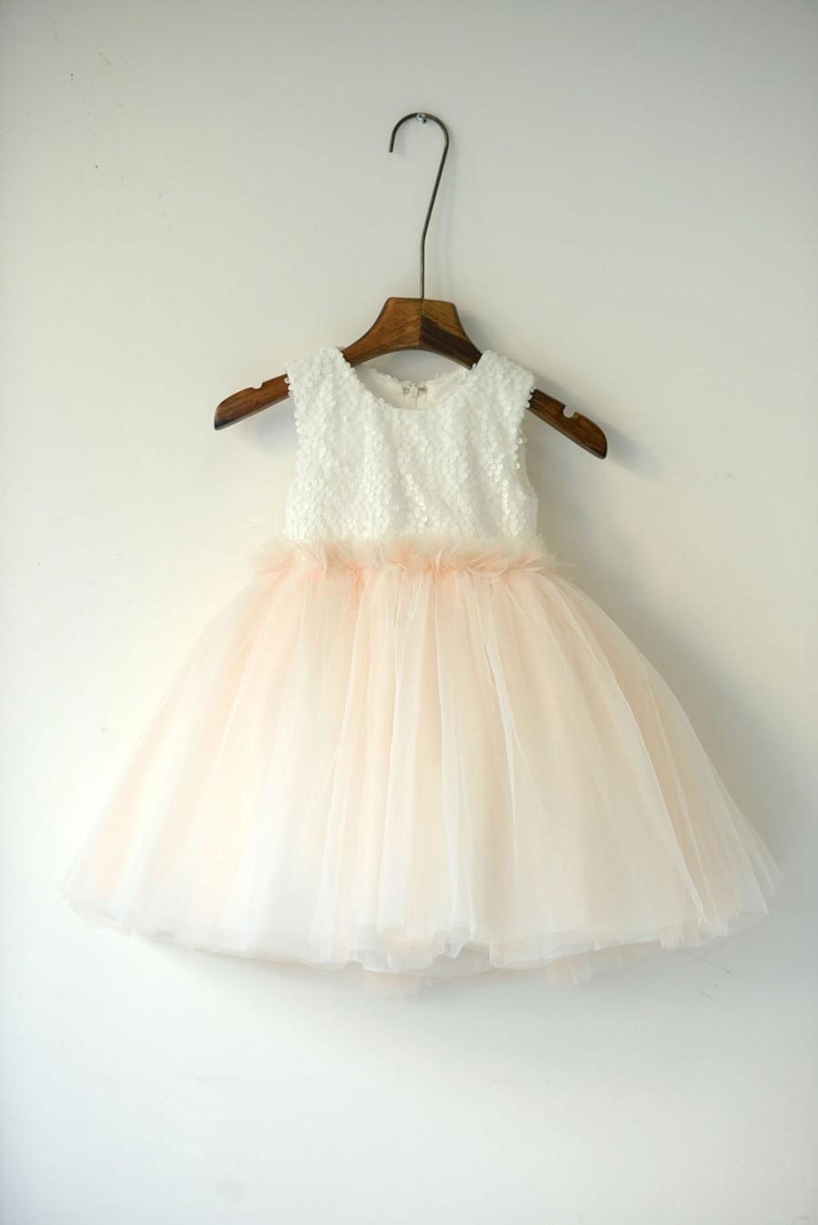 Wedding - Ivory over Blush Tulle Ball Gown Flower Girls Dress
