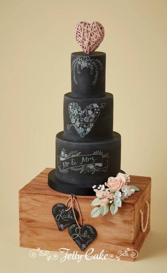 Wedding - Chalkboard And Wooden Crate Wedding Cake