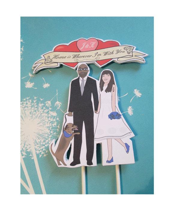 Свадьба - Custom Wedding Topper with dog