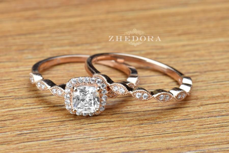 1 6 Ct Princess Cut Engagement Ring Band Set In Solid 14k Rose Gold Bridal Wedding Lab Created Diamond