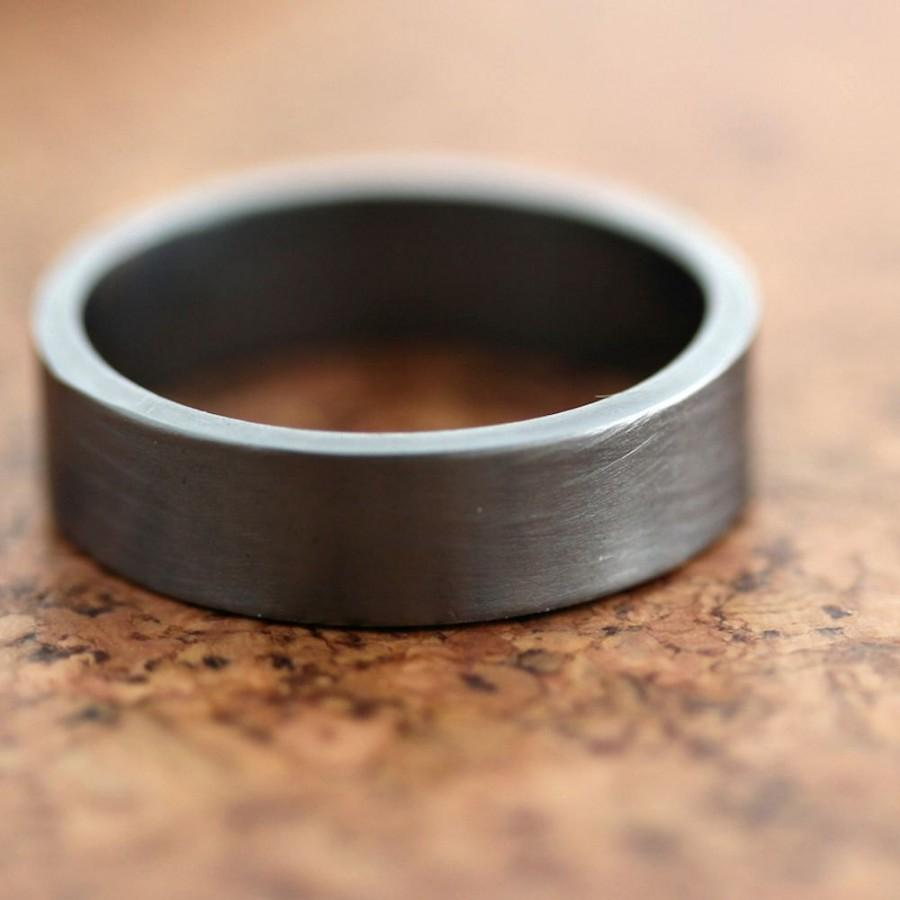 Mens Silver Wedding Band 6mm Wide Simple Flat Band Recycled