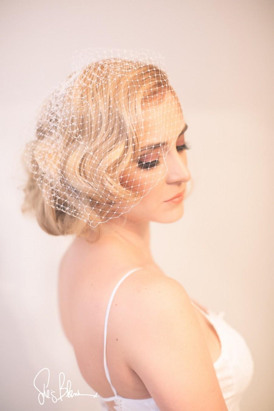 Свадьба - BirdcageVeil, Bridal Veil, Blusher Veil, White, Off White, Ivory, Blush Pink, Champagne-Style No.107