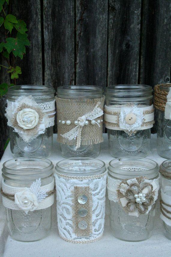 Wedding - Burlap & Lace Mason Jars