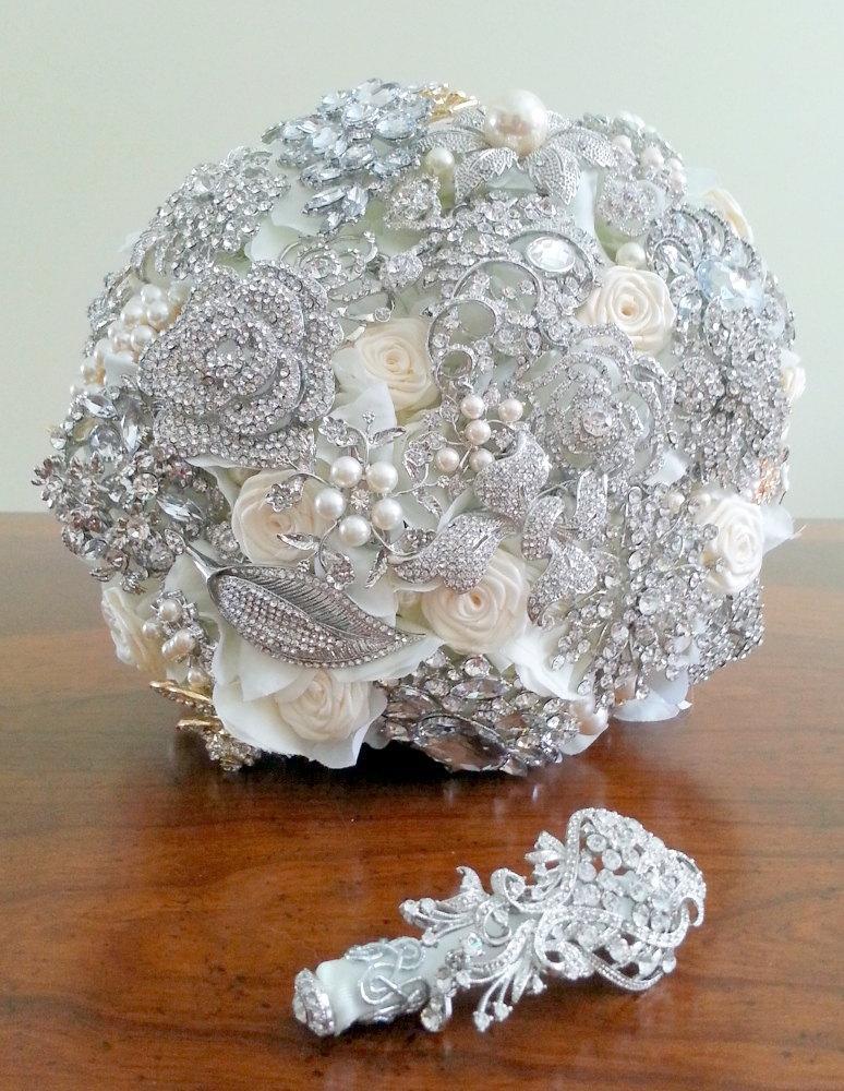 Mariage - Crystal Bouquet - Brooch Bouquet - Broach Bouquet - Flower Bouquet - Alternative Bouquet - Custom Flower Bouquet - Pearl Bouquet – DEPOSIT