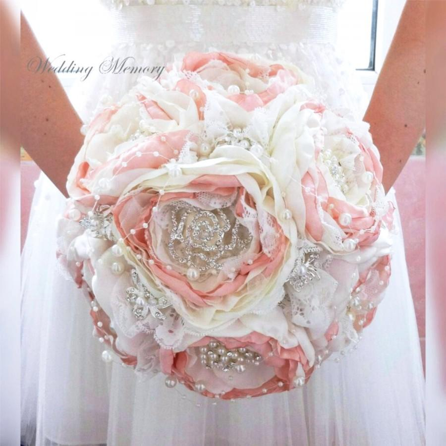 Свадьба - BROOCH BOUQUET Ready to ship in blush pink and ivory silk fabric jeweled with silver royal gems for perfect bride look