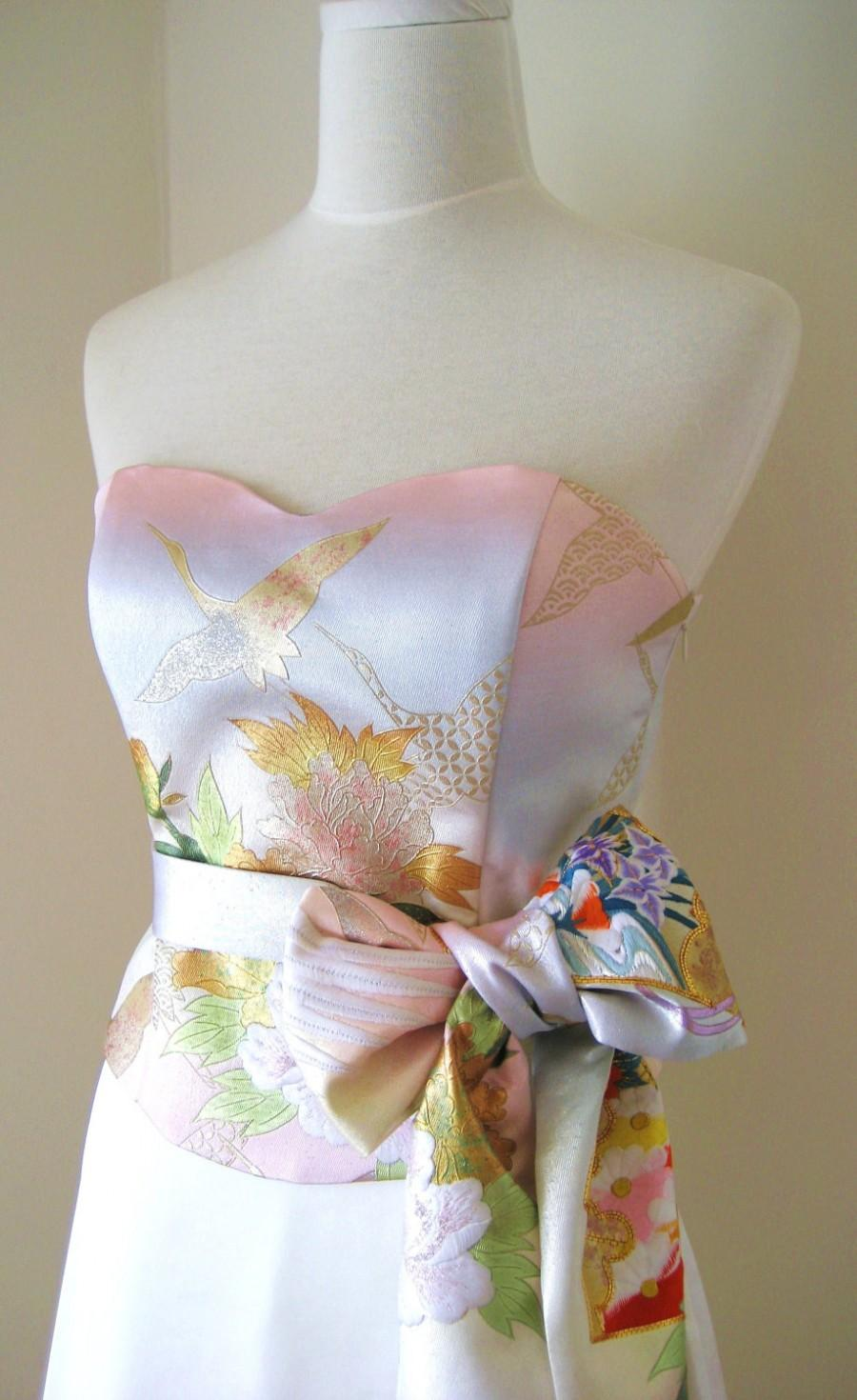 Wedding Dress With Vintage Kimono Top Obi Bow Sash Belt Gold Brocade