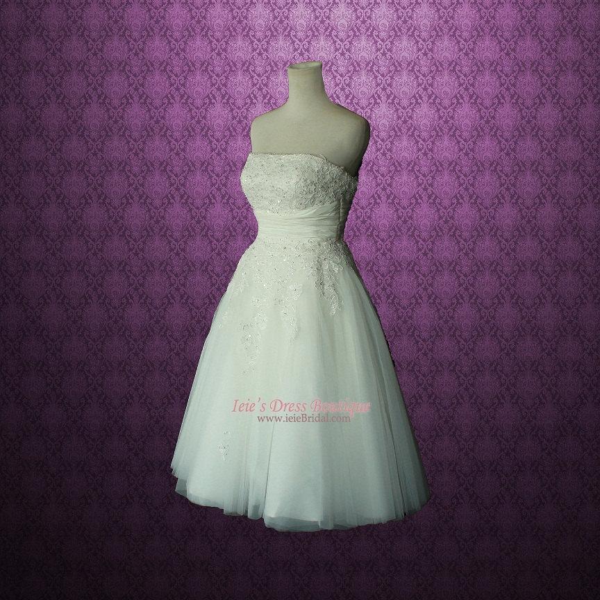 Retro Vintage 50s Short Tea Length Wedding Dress With Floral Sash ...