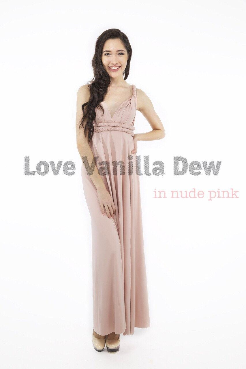Bridesmaid dress infinity dress nude pink floor length maxi wrap bridesmaid dress infinity dress nude pink floor length maxi wrap convertible dress wedding dress ombrellifo Choice Image