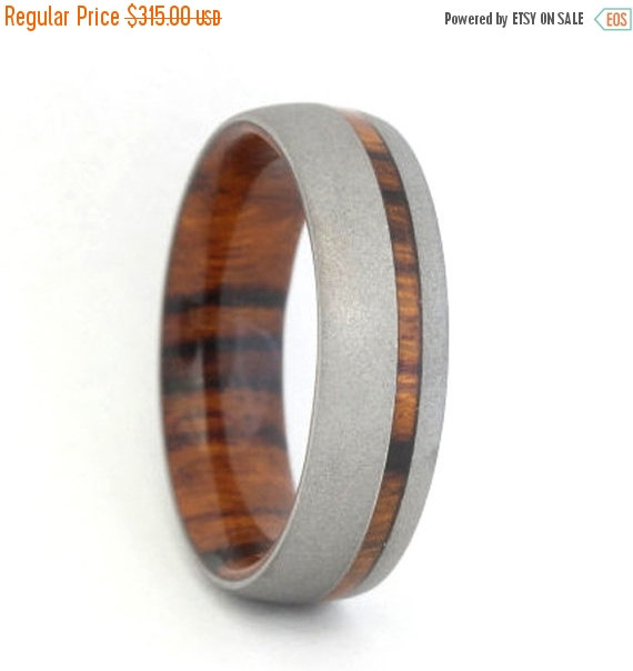 Wedding - Wedding Sale Mens Ironwood wood Ring with a Sandblasted finish, Ring Armor Included