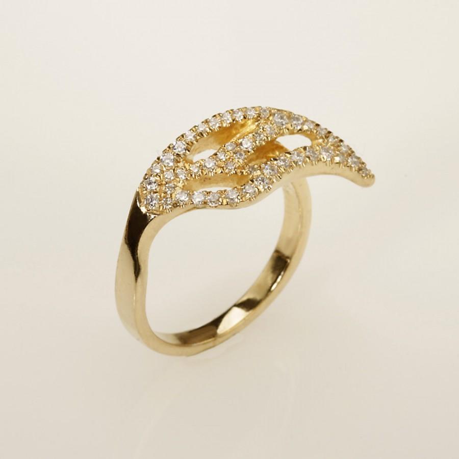 زفاف - Unique engagement ring.Wedding Ring.   14kt  Gold & Diamond ,  RG-1094