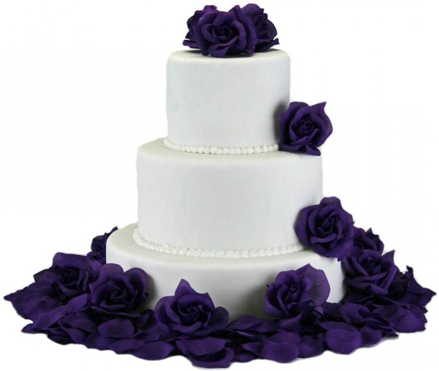 Свадьба - Purple Silk Rose Cake Flowers - Reception Decoration