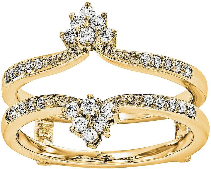 MODERN BRIDE 1 5 CT T W Diamond 14K Yellow Gold Ring Guard
