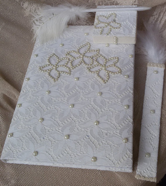 Свадьба - Wedding, Paper Goods, Wedding Accessories, İvory lace guest book, Guest book and pen, Guest book and bookmarks